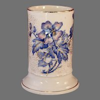 Rare Antique 1888 ALTHEA Aesthetic Staffordshire Transferware Cylinder Vase Brown Westhead Moore