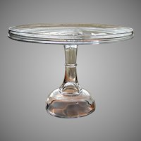 """Antique 1880's XL Plain NR 350 Salver Crystal EAPG High Pedestal Victorian 12"""" Wedding Cake Stand Plate by Central Glass Company"""