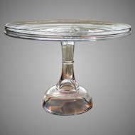 "Antique 1880's XL Plain NR 350 Salver Crystal EAPG High Pedestal Victorian 12"" Wedding Cake Stand Plate by Central Glass Company"