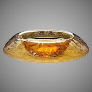 Vintage 1920's Cambridge #704 Windows Border Etch Amber Glass Rolled Edge Rim Centerpiece Console Bowl Art Deco