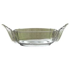 Vintage 1930's ART DECO Fostoria Glass #2563 VIKING Pattern Crystal Console Centerpiece Bowl with Wing Handles