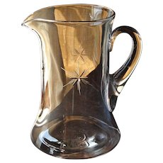 Vintage Tiffin Clear Glass Six Point Star Cutting Water Beverage Pitcher Jug