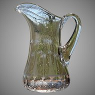 Vintage 1920's Tiffin Clear Glass Water or Wine Pitcher Jug with Icicle Ribs and Stars Cutting