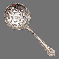 Antique 1904 BERWICK Diana Art Nouveau Pierced Filigree Lace Bowl Nut Sifter Bon Bon Spoon Silver Plate by Eagle Wm. Rogers Silverplate