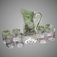 Circa 1915 Intaglio Floral Daisy Cutting Crystal Blown Glass Beverage Set Pitcher With 8 Tumblers