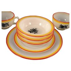 7 Pc.Vintage ART DECO Hazel Atlas BLACK FLORAL & Stripes Platonite Depression Glass Berry Bowls Cups Plates