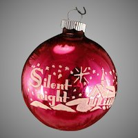 1950's Silent Night Hot PINK Shiny Brite Vintage Glass Stenciled Scene Christmas Tree Ornament
