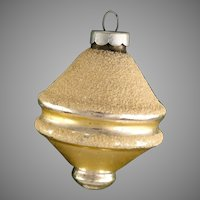 Shiny Brite GOLD Spinning TOP or Atomic UFO Lantern Shape With Mica Glass Christmas Ornament Vintage Bulb