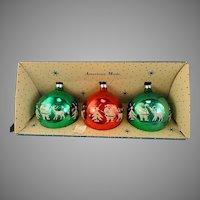 Vintage 1965 Trio Jumbo Paragon USA Glass Flocked Ball Christmas Ornaments Santa With Reindeer Stencil in Carton