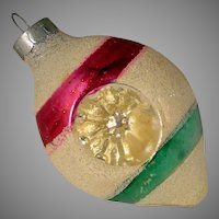Vintage USA Mica Snow Encrusted Teardrop Double Indent Magenta Green Stripes Glass Christmas Ornament Shiny Brite
