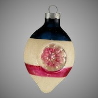 Vintage USA Teardrop Double Indent Patriotic Mica Snow Encrusted Glass Christmas Tree Ornament Shiny Brite