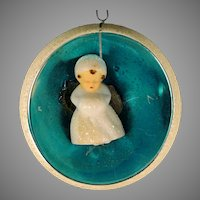 Vintage Germany Large Concave Reflector Turquoise Blue Indent Mica Flocked Glass Ball Christmas Ornament With Sleeping Angel Inside