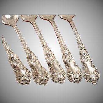 Set 5 Antique 1910 SUNKIST ORANGE Silver Plate Fruit Citrus Grapefruit Spoons by Wm. Rogers & Son
