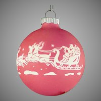 Rare Shiny Brite Opaque Unsilvered Dusty ROSE Pink SANTA & REINDEER Scene Christmas Ornament Vintage War Era Ball
