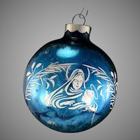 USA Vintage BLUE Virgin Mary Madonna and Child Jesus Christmas Tree Glass Stencil Scene Ornament