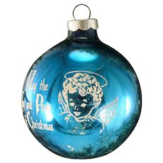 Vintage Shiny Brite USA Glass Blue Angel With Saying Joy and Peace Christmas Stencil Scene Tree Ornament