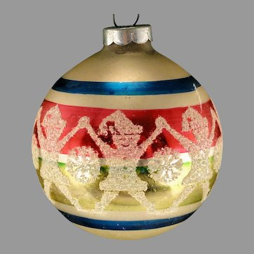 Vintage Shiny Brite USA Glass Mica Elf Pixie Garland Christmas Stencil Scene Tree Ornament