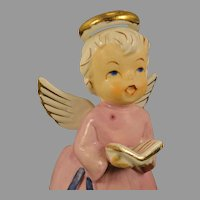 Vintage Singing Christmas Choir ANGEL in Pink Gown With Book Planter Figurine