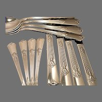 Vintage 1932 ART DECO Wm. Rogers GUILD aka CADENCE Silver Plate Flatware Dinner Service for 4, 8, 12, 16