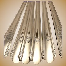 Paramount Vintage 1933 Cool Geometric ART DECO Grille Viande Style Dinner Place Setting Silverplate Flatware Silver Plate Wm. A. Rogers