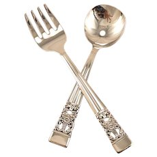 Unused Baby Toddler Fork Spoon Set Oneida Community Plate CORONATION Vintage 1936 Art Deco Silver Plate Flatware Silverware