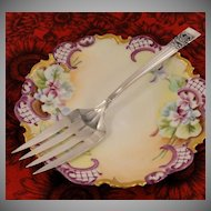 Art Deco 1936 Vintage Oneida Community Plate CORONATION Meat Serving Fork Silver Plate Flatware Silverware
