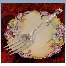 Art Deco 1936 Vintage Oneida Community Plate CORONATION Meat Serving Fork Silver Plate Flatware Silverware