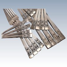 Oneida Community Plate CORONATION Art Deco Silverware Set Vintage 1936 Silver Plate Flatware Modern Blade Traditional Dinner Service for 4, 8, 12 or 16