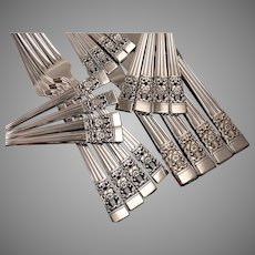 Oneida Community Plate CORONATION Art Deco Silverware Set Vintage 1936 Silver Plate Flatware Modern Blade Traditional Place Settings Dinner Service for 4, 8, 12 or 16