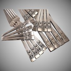 Oneida Community Plate CORONATION Art Deco Silverware Set Vintage 1936 Silver Plate Flatware Modern Blade Traditional Dinner Service for 4, 8 or 12