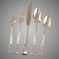 CORONATION Unused 5 Pc. Dinner Service Set Place Setting Vintage 1936 ART DECO Silverplate Flatware Community Silver Plate by Oneida