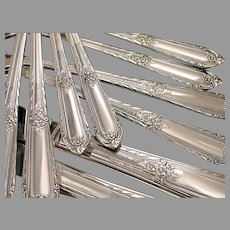 Cotillion Vintage 1937 Elegant ART DECO Dinner Place Settings Silverplate Flatware Silver Plate Eagle Wm Rogers Star IS