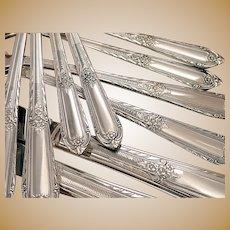 Cotillion Vintage 1937 Elegant ART DECO Dinner Place Settings Silverplate Flatware Silver Plate Eagle Wm Rogers Star IS
