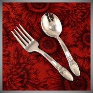 Unused Baby Toddler Fork Spoon Set 1847 Rogers Bros FIRST LOVE Vintage 1937 Art Deco Silver Plate Flatware Silverware by International