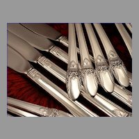 1847 Rogers FIRST LOVE Art Deco Silverware Set Vintage 1937 Silver Plate Flatware Dinner Service for 4