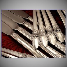 1847 Rogers FIRST LOVE Art Deco Silverware Set Vintage 1937 Silver Plate Flatware Dinner Service for 4, 8, 12,16, 20