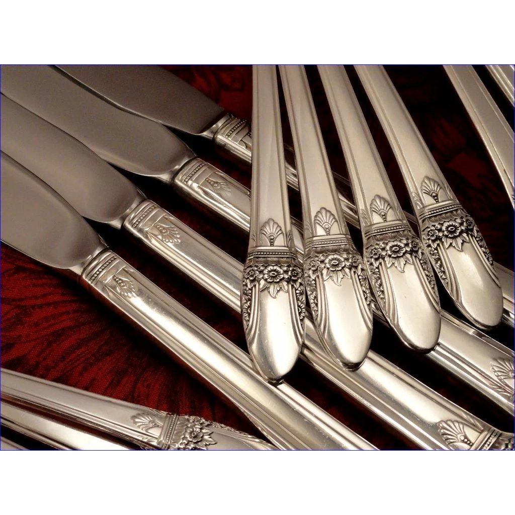 4 Rogers First Love Silver Plated 9-14 Modern Hollow Dinner Knives 1937
