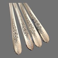 Royal ROSE Vintage 1939 ART DECO Grille Style Place Setting Floral Silverplate Flatware Silver Plate Nobility Plate