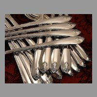 Rogers EXQUISITE Vintage 1940 ART DECO Long Handled Grille Viande Style Dinner Place Settings Silver Plate Flatware Silverware Set