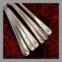 Oneida Community MILADY Flatware Dinner Set 1940 Art Deco Service for 4 Silver Plate Silverware