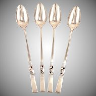 Set 4 Long Handled Iced Tea Spoons MORNING STAR Oneida Community 1948 Vintage Silver Plate