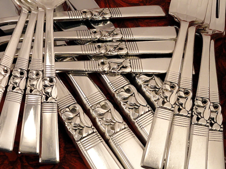 4  Oneida Community  MORNING STAR Silverplate  Grille Viande Luncheon Forks 1948