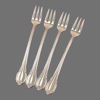 Set 4 Seafood Cocktail Shrimp Forks 1847 Rogers Vintage 1948 REMEMBRANCE Silver Plate Flatware Silverware Silverplate