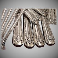 Vintage 1954 Anchor Rogers ELEGANCE Silverware Set Silver Plate Flatware Grille Viande Style Dinner Service for 4 Silverware Silver Plate