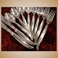 1847 Rogers FLAIR Silverware Set Vintage 1956 Silver Plate Flatware Dinner Service for 4, 8, 12, or 16