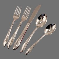 SPRINGTIME 5 pc. Place Setting Silverware Set Dinner Service International 1847 Rogers Bros Vintage 1957 Silver Plate Flatware Silverplate