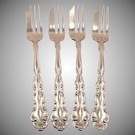 Set 4 Vintage 1971 BEETHOVEN Pie Pastry Dessert Forks by Oneida Community Silver Plate
