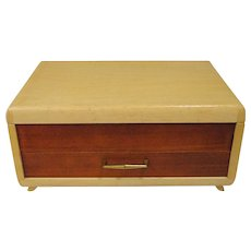Retro Oneida COMMUNITY Mid-Century Footed Wood Flatware Storage Box Chest With Drawer Danish Modern - for silverware!