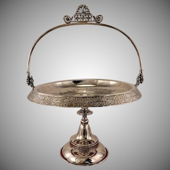 Antique 1880's Derby Aesthetic Victorian Quadruple Silver Plate Bride's Cake Wedding Basket With Hummingbirds & Flowers