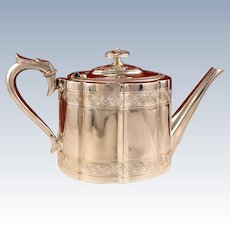 Antique Circa 1890 Victorian English Sheffield Silver Plate Teapot by James Dixon and Sons England